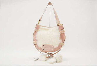 Fur Burberry London shoulder bag pink / ivory