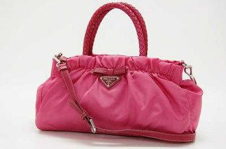 Prada nylon x 2-WAY lambskin handbag pink BN1631
