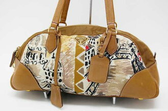 Prada nylon / leather Boston bag Brown of fs3gm