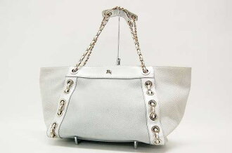 Burberry Blue label bag チェーントート silver
