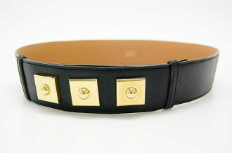 Hermes studded leather belt 75 black gold metal ZO ticking