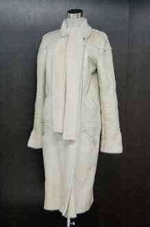 CHANEL 04A Mouton Long Coat Size 40 Light Beige P24284