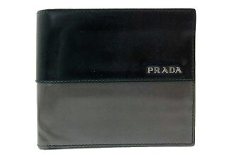 Prada SPAZZOLATO 4 (spazzolato 4) two leather bi-fold wallet black x grey 2M0738 fs3gm