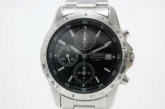 Seiko chronograph mens watch black dial 7T92-0DW0