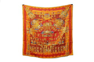 "Hermes silk scarf-""boyfriend"" (celestial bodies and the Sun) ASTRES et SOLEILS Orange series brand new as well as fs3gm"