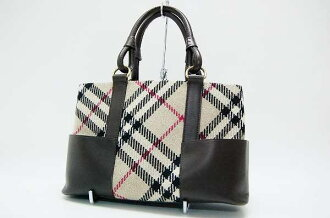 Burberry Nova check tote bag wool / leather fs3gm