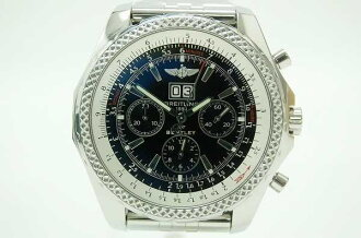 "Fs3gm Breitling ""Bentley 6.75"" chronograph men's watch SS/SS Black Edition A44362 beauty products ""enabled."""