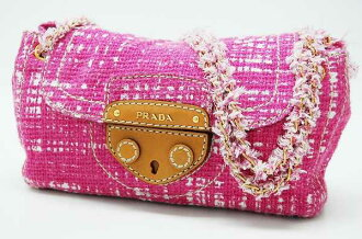 PRADA tweed chain shoulder bag pink BR4658 》 fs3gm for 《