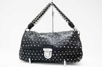 "Prada studded セミショルダー bag black / silver metal BR4344 ""enabled."""