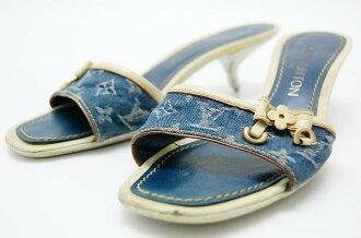 Louis Vuitton Monogram Denim Sandals mules 36 blue fs3gm