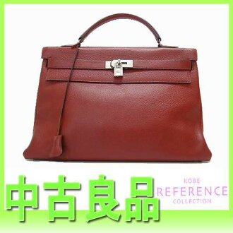 "Hermes Kelly 40 handbag in sewing fjord ルージュアッシュ Matt silver metal D time ""response.""-fs3gm"