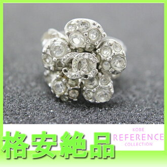 CHANEL 05V CC flower rhinestone ring 13 silver 》 fs3gm for 《