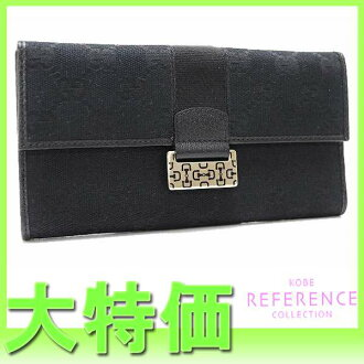"Gucci horsebit GG W hook length wallet black 146206 like new ""response.""-fs3gm"