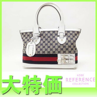 Gucci HERITAGE( heritage) GG トートバッグウェビングネイビー X white 257085 》 fs3gm for 《