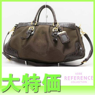 "Prada ロゴジャ guard 2-WAY handbag crocodile dark brown BN1274 ""response.""-fs3gm"