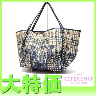 "Tote classic check beige studded Burberry paint x unused blue ""response."""