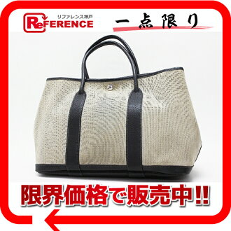 "Hermes garden party PM Bolduc tote bag toilasch black x grey ""response.""-fs3gm02P05Apr14M"