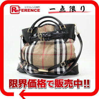 "Burberry House check 2-WAY handbag beige × black ""response.""-fs3gm"