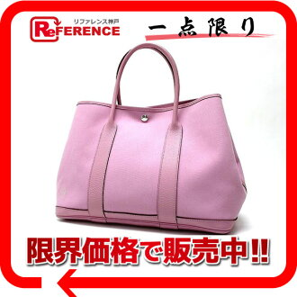 "Hermes garden party PM tote bag トワルオフィシ ALE pink N ticking ""response.""-fs3gm"