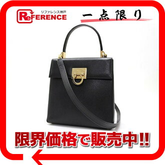 "Ferragamo gancini leather 2-WAY handbag black ""response.""-fs3gm02P05Apr14M"