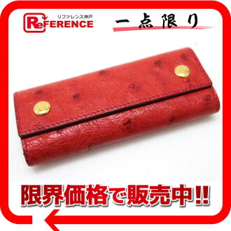 "Hermes ostrich 4-key case red A ticking ""response.""-fs3gm"
