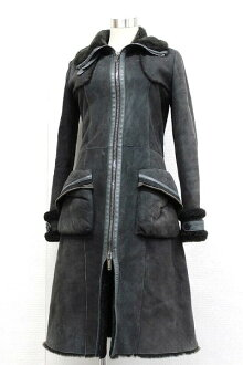 Emporio Armani women's Shearling long coat 38 BOA dark grey series s response.""