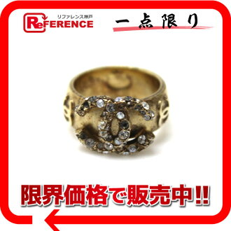 "Chanel rhinestone CC ring No. 13 Gold ""response.""-fs3gm"