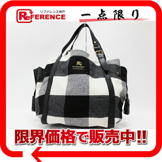 "Burberry Blue label check cotton x leather tote bag black x white beauty products ""enabled."""
