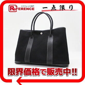 "Hermes garden party PM tote bag トワルオフィシ ALE black H engraved ""response.""-fs3gm02P05Apr14M"