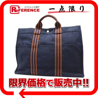 "Hermes thereto Tote MM Navy × Brown? s support.""fs3gm"