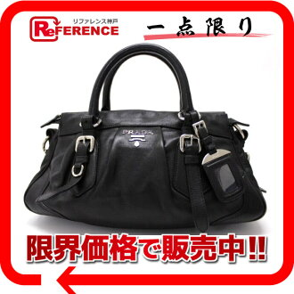 "Prada ヴィテロソフト handbag black BN1229 ""response.""-fs3gm"