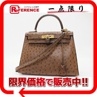 "Hermès ""Kelly 28"" handbag out sew with shoulder strap ostrich brown gold bracket old I ever-s compatible."""
