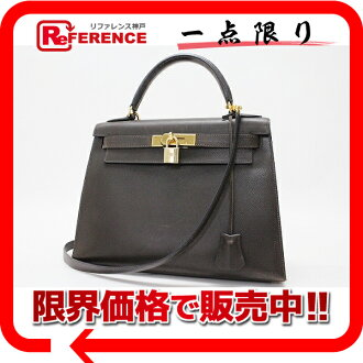 "Hermès ""Kelly 28"" handbag out sew with shoulder strap クシュベル Havana gold bracket B ticking ""response."""