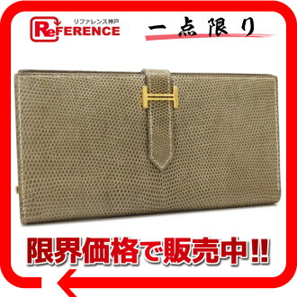 "Two fold long wallet リザードエトープゴールド metal fittings K 刻 》 fs3gm with the HERMES ""ベアンスフレ"" gusset for 《"