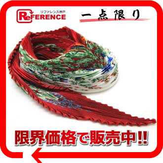 "HERMES silk pleats scarf ""カレプリセ"" LA PRAIRIE( grassy plain) red system-free 》 fs3gm for 《"