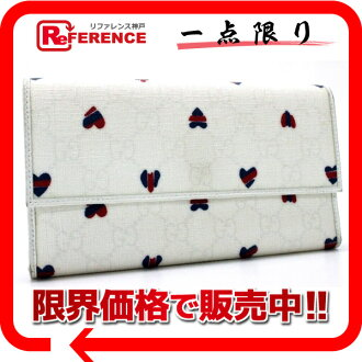 "Gucci GG plus heart long trifold wallet white 257303 ""response.""-fs3gm"