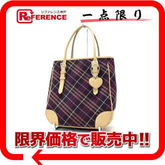 "Burberry Blue label check tote bag purple series x beige ""response.""-fs3gm"