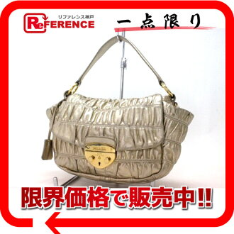 PRADA leather gathers 2WAY handbag gold 》 fs3gm for 《
