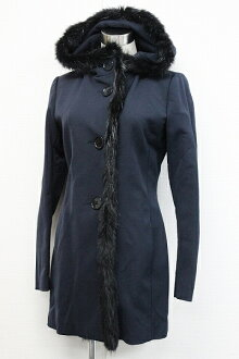 "Prada sport ビーバーファー hooded women's coat with 44 Navy ""response.""-fs3gm"