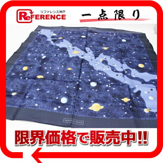"HERMES silk scarf ""boyfriend ""LA VOIE LACTEE( Milky Way) blue system-free 》 fs3gm for 《"