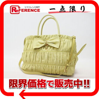 "Prada ナッパゴーフル Ribbon 2-WAY shoulder bag yellow BN1932? s support.""fs3gm"