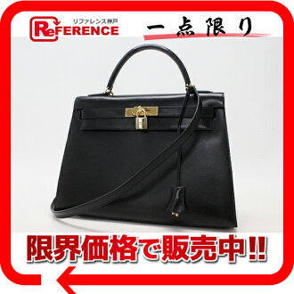 "Hermes handbags ""Kelly 32"" outside seam with shoulder strap black gold metal Bock scarf V engraved ""response."""