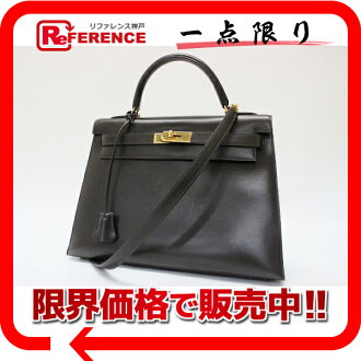 Stitch handbag HERMES Hermes Kelly 32″ outside and used with shoulder strap dark brown gold fitting Casemates du Bock scarf Z ticking