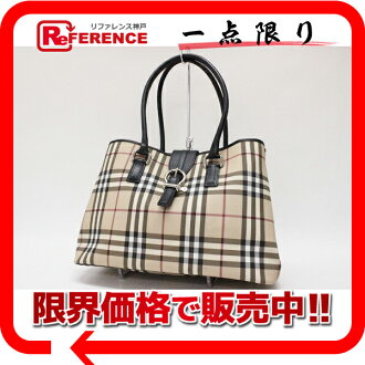 "Burberry London classic check tote bag beige / black ""response."""