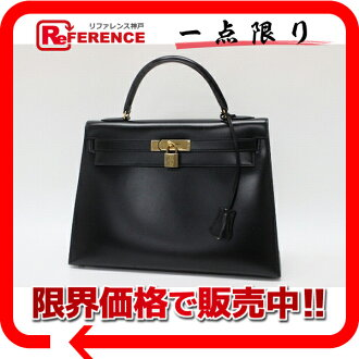 "Hermes handbags ""Kelly 32"" outside seam fs3gm black gold fitting Casemates scarf R inscribed ""response."""