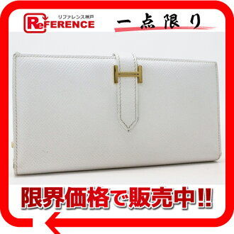 "Two fold long wallet ""ベアンスフレ"" Epson white gold metal fittings K 刻 》 fs3gm with the HERMES gusset for 《"