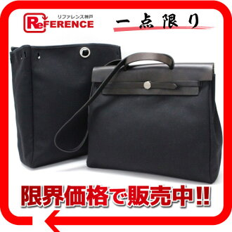 Hermes airbag MM-2-WAY handbag refill bag with トワルオフィシ air black matte silver bracket D ticking? s support.""
