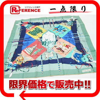 "Like-new 》 fs3gm 02P05Apr14M of HERMES silk scarf ""boyfriend"" LE CARNAVAL DE VENISE (carnival of Venice) Green line for 《"