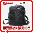 [CHANEL] It is fs2gm fs2gm CHANEL calfskin rucksack black [used] [comfortable  _ packing   free shipping tomorrow for comfort]