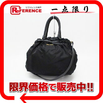 "Prada Ribbon 2-WAY handbag nylon × fs3gm nappa leather (black beauty) ""enabled."""